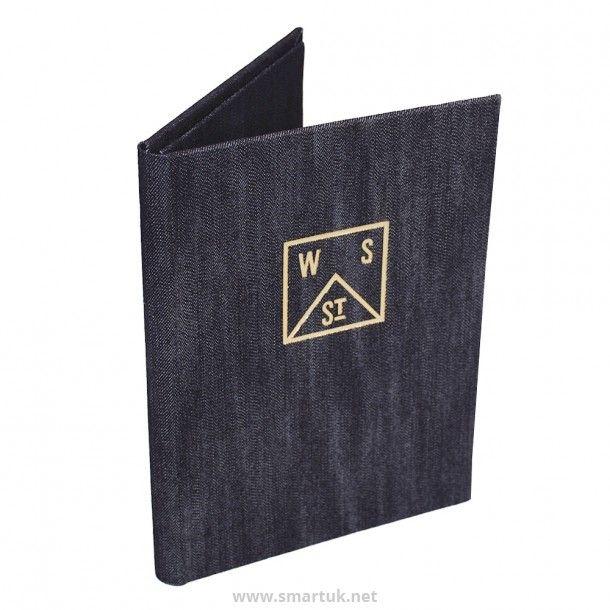 Rustic denim menu covers make for an exciting restaurant emnu design.