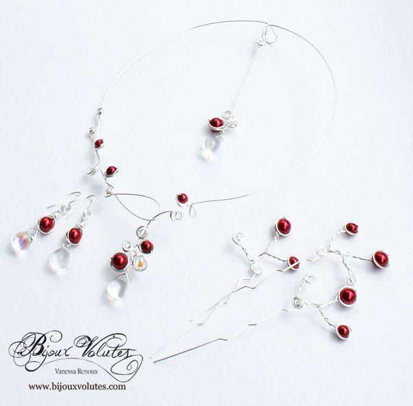 17 best images about bijoux mariage bordeaux colliers mariage perles rouges on pinterest. Black Bedroom Furniture Sets. Home Design Ideas