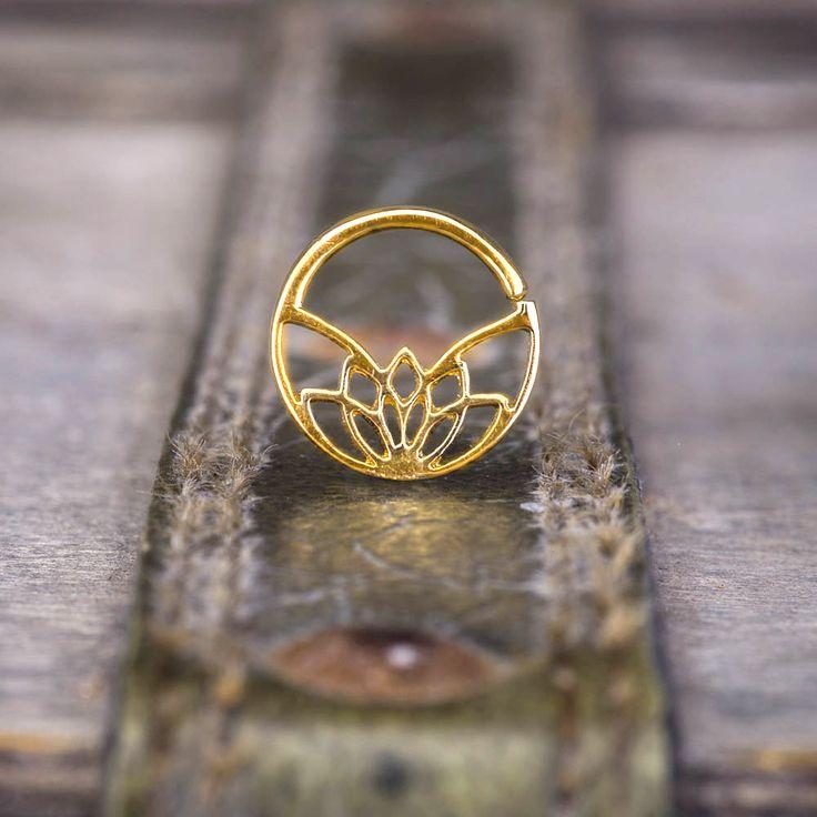 Gold setum ring lotus piercing helix tragus lobe ring by NoitaDesigns