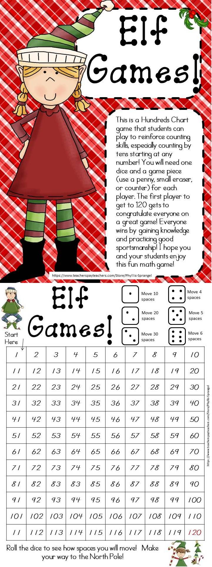 """Free!! Enjoy this math game with your students this holiday season! (K-2) Check out """"My Elf Journal"""" while you are at my TPT store!"""