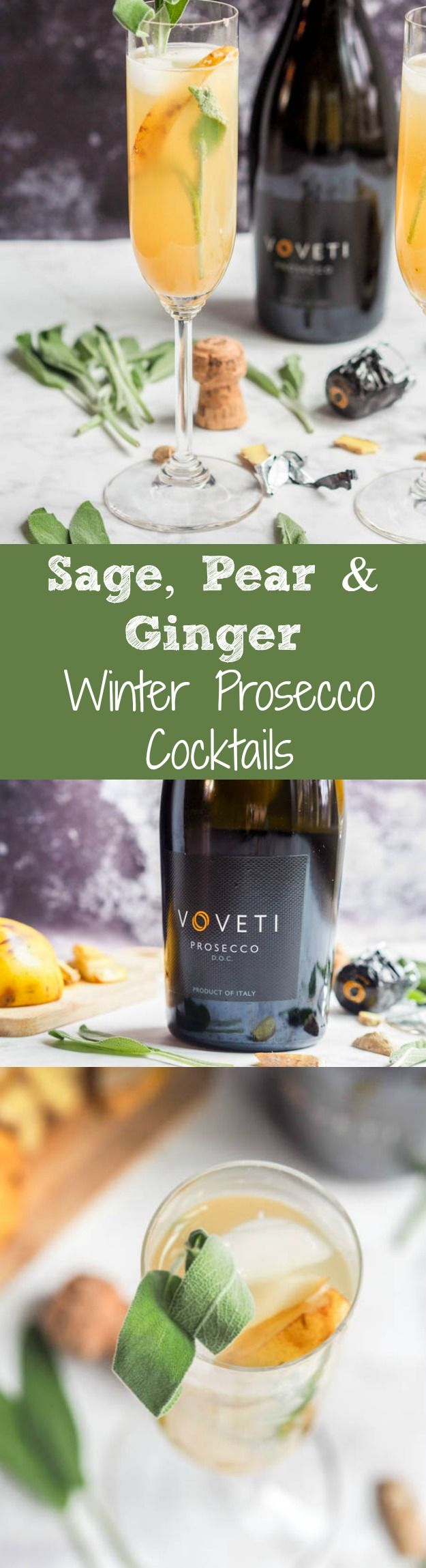 These winter prosecco cocktails are made with sage, pear and ginger for a super chic and fragrant yet easy to make winter themed adult beverage. Perfect for holiday entertaining and celebrating!