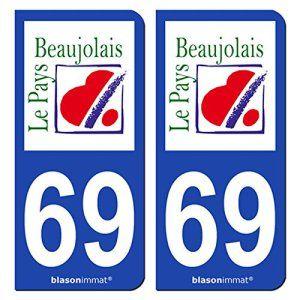 2 Autocollants de plaque d'immatriculation auto 69 Beaujolais – Pays