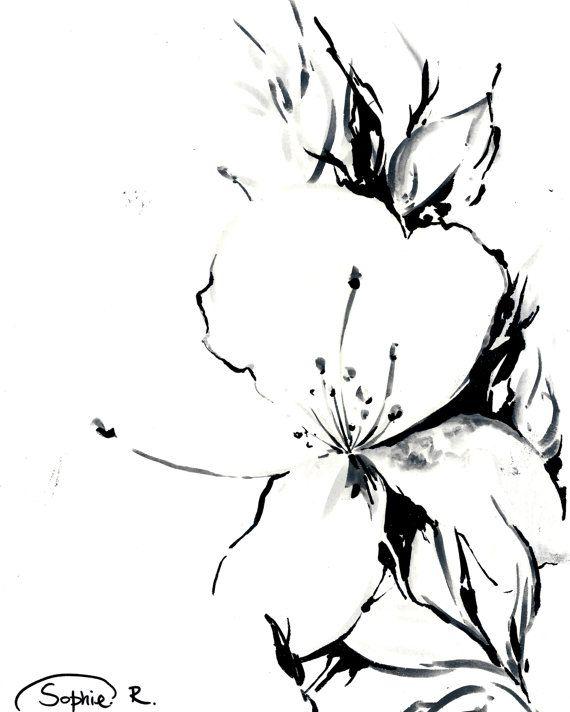 Jasmine Flower - Original-Zeichnung Schwarz und weiß Natur botanische Blumenkunst Natur botanische Illustration Das ist ORIGINAL-Zeichnung und