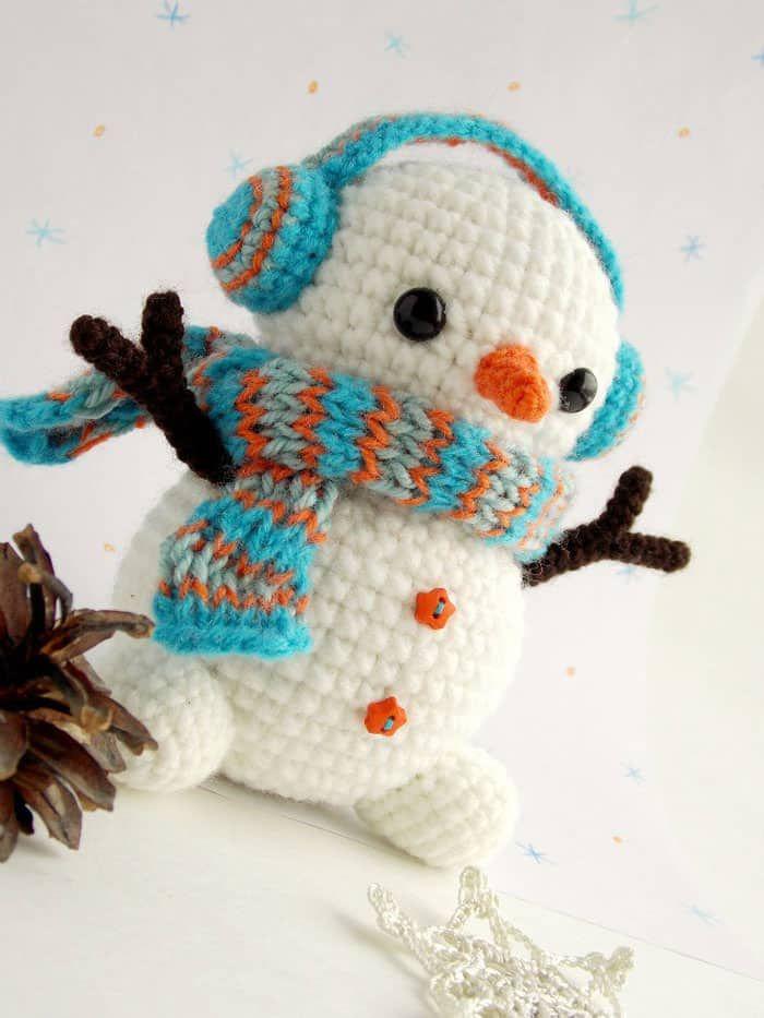 Patrones de ganchillo de Navidad - Patrón de muñeco de nieve crochet ...