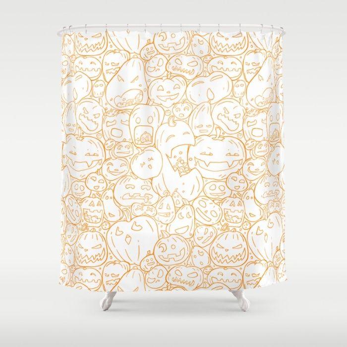 Pumpkin Halloween line pattern Shower Curtain by StrijkDesign | Society6