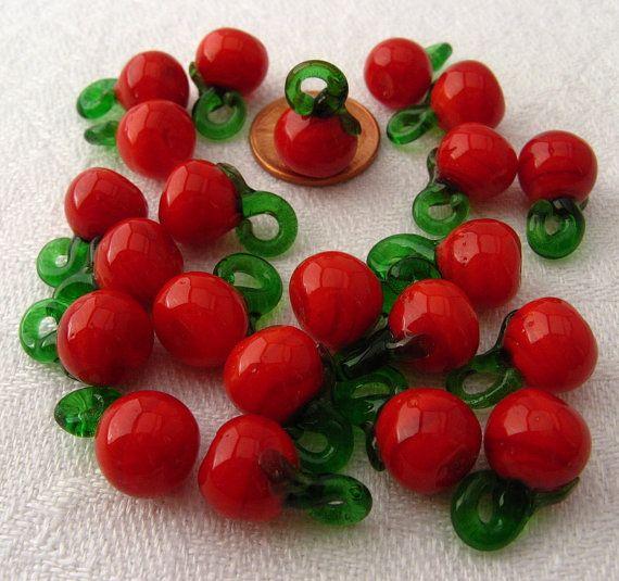 Glass Bead or Charm Miniature Tomato Vegetable by RoseandBernardo