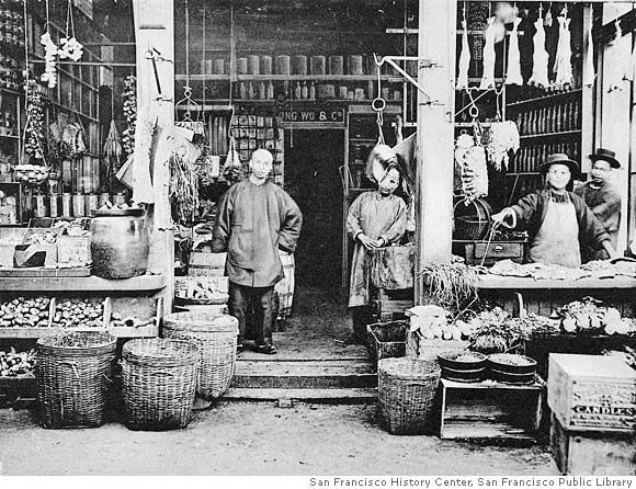 A shop in Chinatown, circa 1900