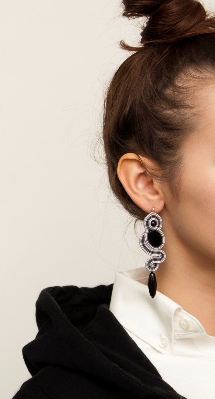 Dangle earrings Soutache jewelry-Grey and Black Stud by MANJApl