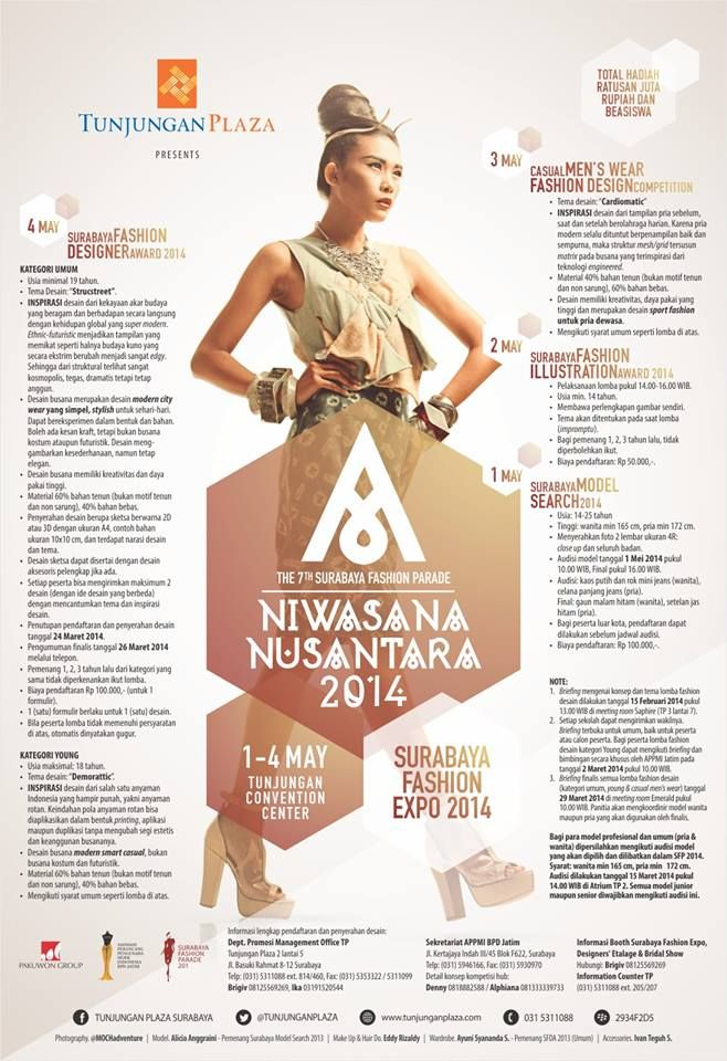 "AYO IKUT MERAMAIKAN.. ""The 7th Surabaya Fashion Parade ""NIWASANA NUSANTARA 2014"" present by @TUNJUNGANPLAZA"