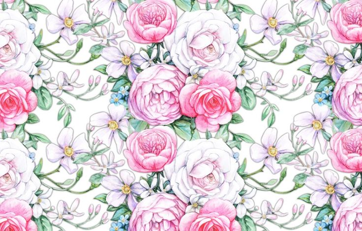 Seamless composition with white and pink roses by Maria Rytova #rose #floral #pattern #vintage #seamles
