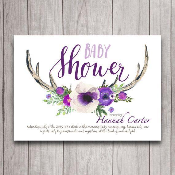 Antler Baby Shower Invitation Printable Oh Deer Purple