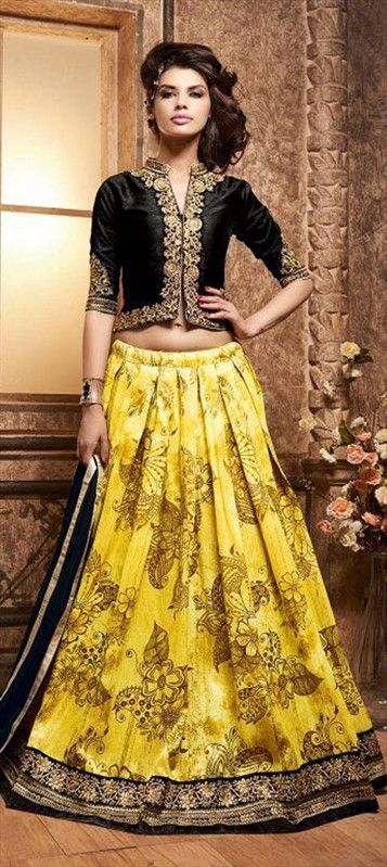 719777 Black and Grey,Yellow color family Long Lehenga Choli in Banarasi,Silk fabric with Lace,Machine Embroidery,Printed work .