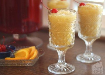 The directions on the Bourbon Whiskey Slush read, mix and freeze overnight. Short, sweet, delicious, and a time-saver. File this one under - party starter!
