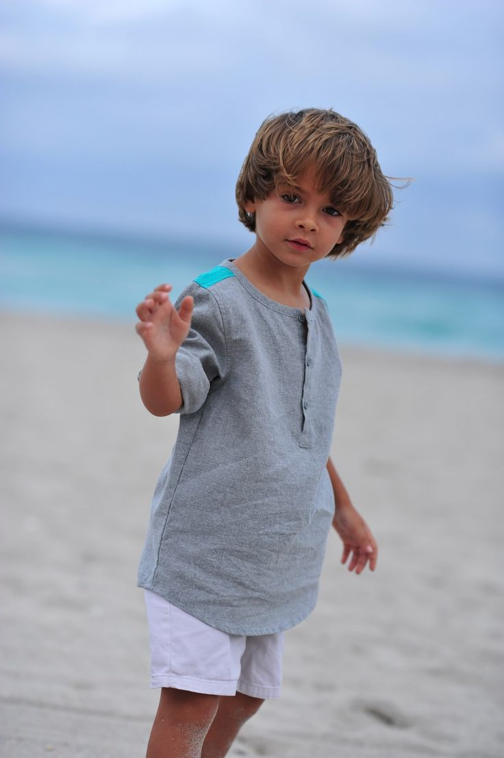 Tyler Tunic - Gray/ Teal http://www.creamcoralcollection.com/Boys-Linen-Tunic-p/70005.htm