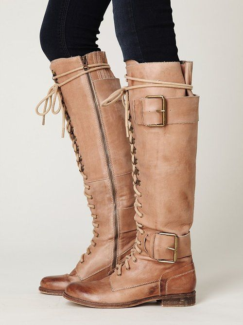 Jeffrey Campbell military lace-up boots.Knee High, Tall Boots, Lace Up Boots, Plain Boots, Fall Boots, Free People, Jeffrey Campbell, High Plain, Combat Boots