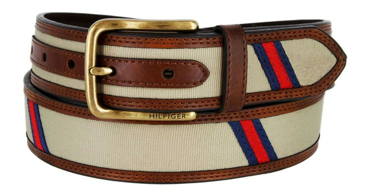 Tommy Hilfiger Men's Leather Canvas Ribbon Belt, Khaki #TommyHilfiger