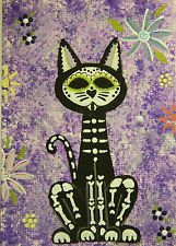 Cat, Sugar Skull Cat ACEO Original DAB-ART