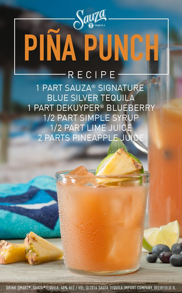 This tropical tequila cocktail combines the fruity flavors of pineapple and blueberry with Sauza® Tequila, bringing that warm beach vibe to wherever you are.   Directions: Pour all ingredients into a punch bowl over ice. Stir well and garnish with a pineapple and mango slices.