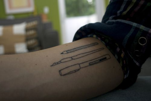 Pencil. Ink Pen. Ballpoint.  My buddy Ian Dingman drew these writing utensils for me. I recently had them tattooed on the underside of my right forearm by D'mon at True Tattoo in Los Angeles. I love the hand-drawn quality, how the lines are imperfect.  http://lifeserial.tumblr.com