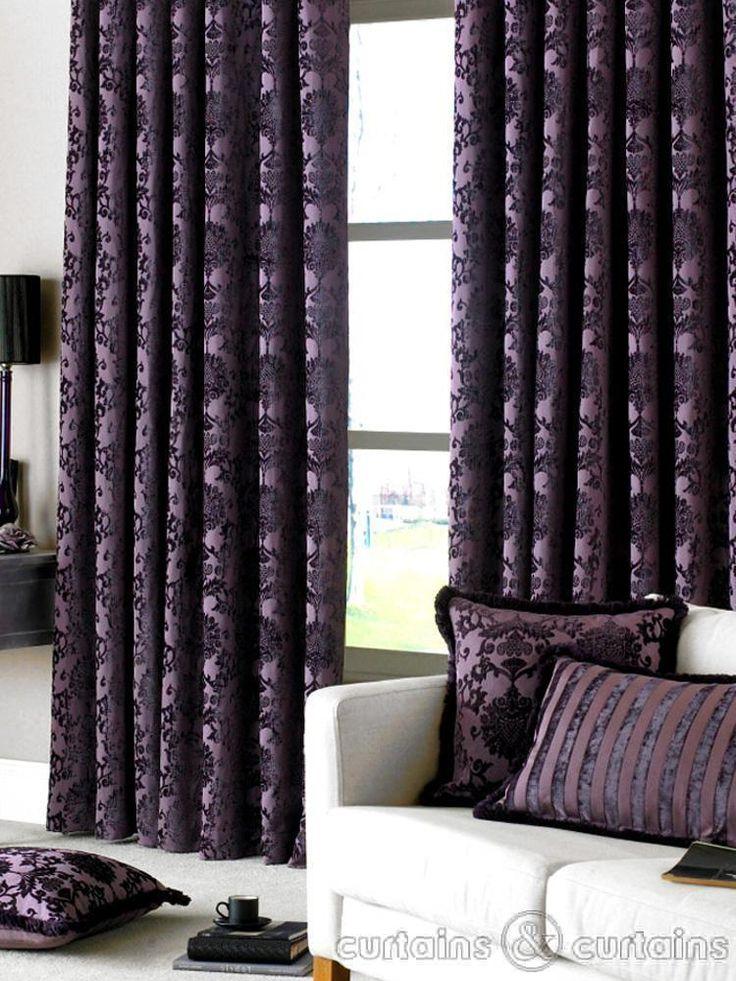 $200 Dulux Luxury Heavy Thick Cut Velvet Damson Purple Pencil Pleat Curtain - Curtains UK