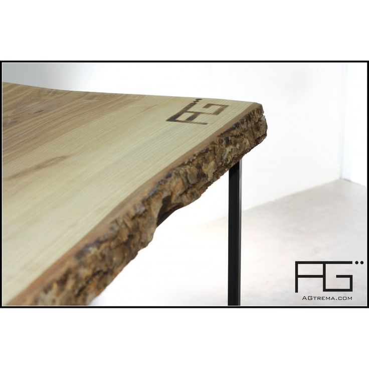 table basse industrielle bords bruts avec corce live edge plateau pais en fr ne olivier. Black Bedroom Furniture Sets. Home Design Ideas