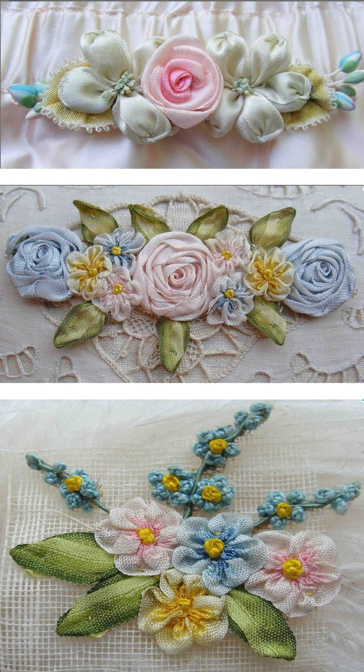 Ribbon embroidery bedspread designs - Love These Sweet And Dainty Ribbonwork Flowers Silk Ribbon Embroideryribbon
