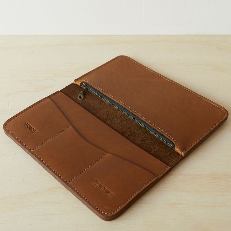 Large Leather Travel Wallet - Tan