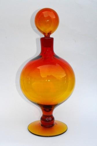 Big 1960's Art Glass Blenko Tangerine (Amberina) #6211 Decanter w/ Ball Stopper