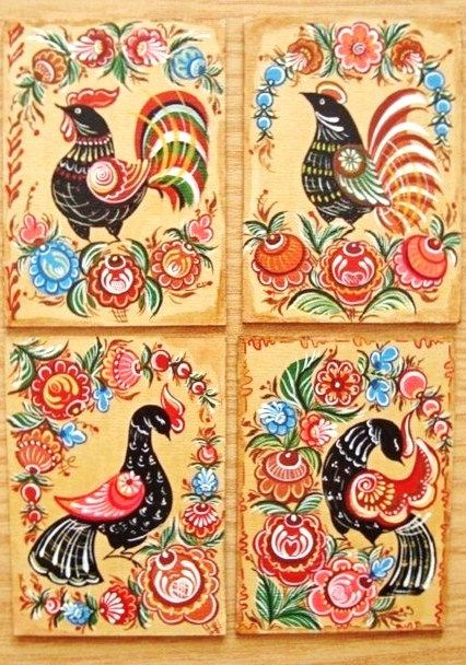 Folk Gorodets painting from Russia. Birds. #Russian #folk #art #painting