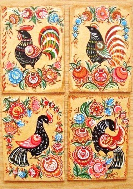 Folk Gorodets painting from Russia. Birds. #Russian #folk #art #painting