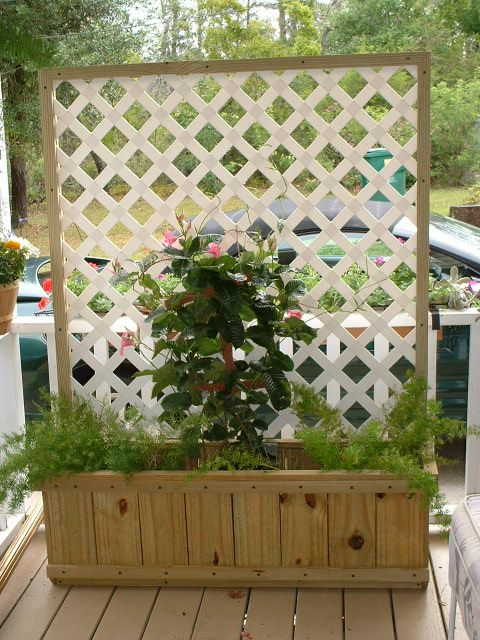 Planter Box made from Fence Boards:  maybe without the lattice and wheels on bottom???