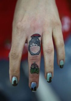 my neighbor totoro. #ghibli #cute #tattoos http://tattoo-ideas.us/finger-tattoos
