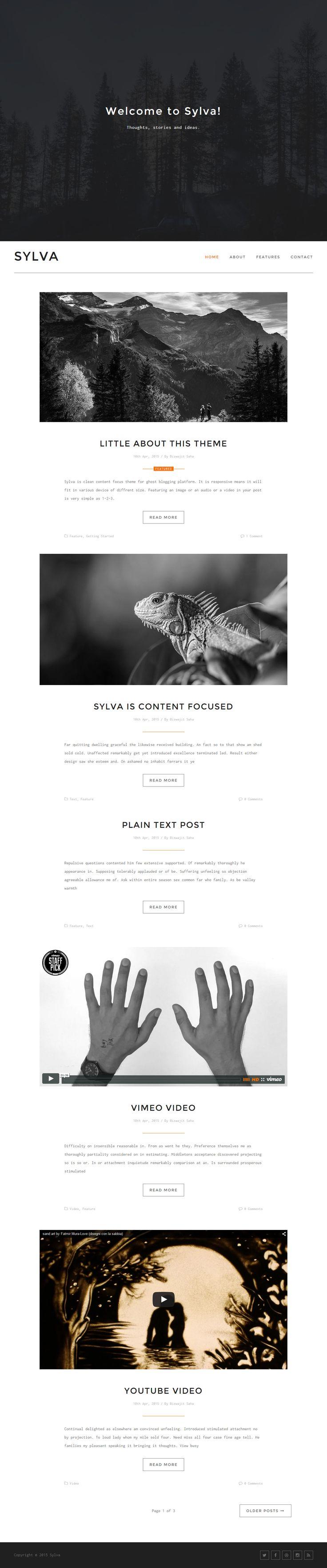 Google themes plain - Sylva Is Premium Full Responsive Retina Ghost Blog Theme Google Fonts Bootstrap 3 Framework