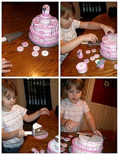 "{What awesome suggestions for making the cake educational} ""The cake is great for hand/eye development. This includes 20 mix n match toppings and is made of high quality wood. But this cake is different as well and not just for pretend play. It will teach your child educational skills as well like learning patterns. For instance. The toppings have three different patterns on them, a rose, bouquet and a heart. You can actually place these face down and have a blast playing the match game..."""