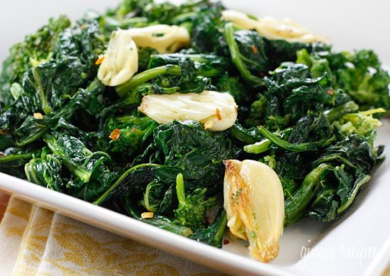 Roasted Broccoli Rabe with Garlic Gina's Weight Watcher Recipes  Servings: 4 • Serving Size: 1/4th • Old Points: 2 pts • Points+: 2 pts Calories: 72.4 • Fat: 7.0 g • Carb: 1.7 g • Fiber: 0.8 g • Protein: 1.2 g  1 large bunch broccoli rabe (rapini), tough stems removed 4-5 cloves garlic, smashed 2 tbsp olive oil salt and fresh pepper pinch crushed red pepper flakes (optional) Heat oven to 400°. Bring a large pot of salted water to a boil. When water boils, add broccoli rabe and…