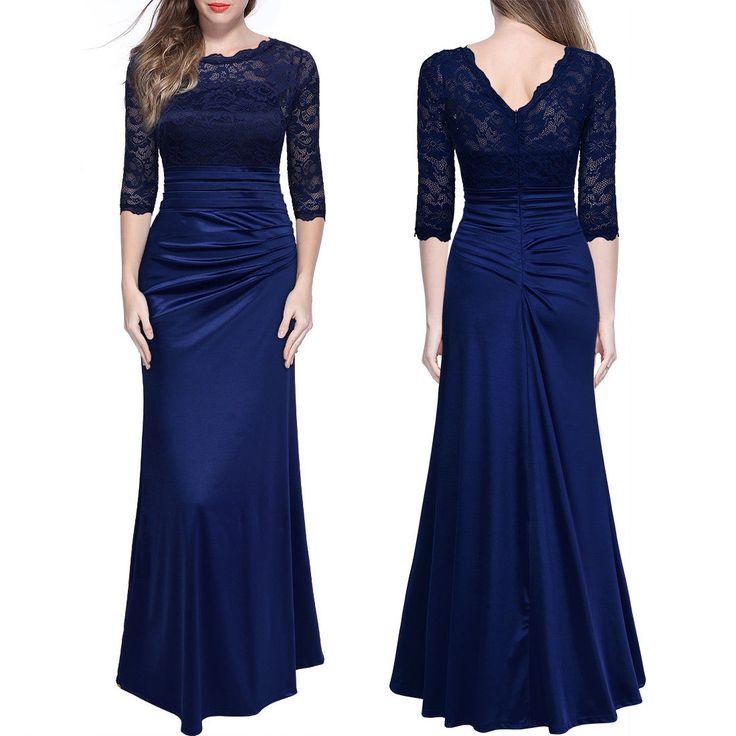 Damen Abendkleid Spitzenkleid Brautjungfer Cocktailkleid Lange Maxi Kleider36-46…