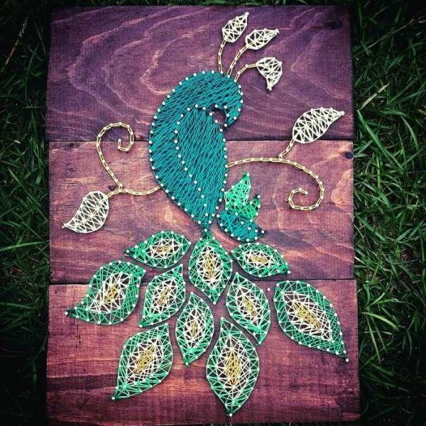 iplik sanatı string art kendin yap tavus kuşu