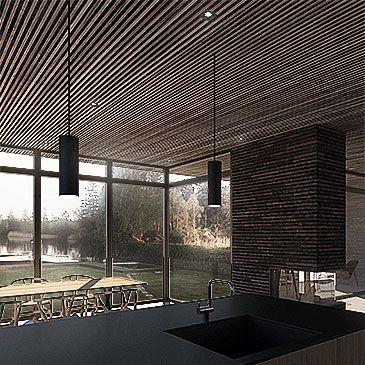 BAKS ARKITEKTER - Lake House, Denmark. Nordic architecture, house, design, scandinavian, texture, living room, kitchen, brick, fireplace, oak, minimalistic