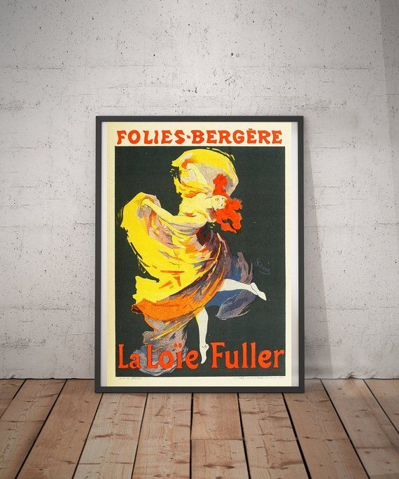 French Vintage Framed Poster Of A Boho Dancer In The Art Nouveau Style