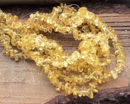 Для украшений ручной работы. Ярмарка Мастеров - ручная работа. Купить Кварц нить 40 см желтый каменная крошка  бусины для украшений. Handmade.