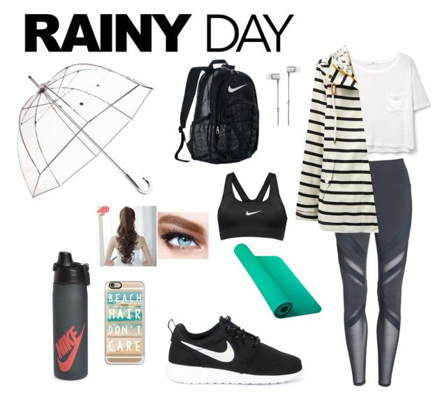 """rainy day"" by abby-134 ❤ liked on Polyvore featuring Alo, MANGO, Joules, NIKE, Totes, Pin Show, Maybelline, Casetify and Master & Dynamic"