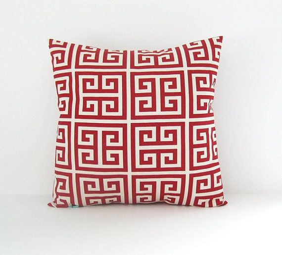 Red Pillow Cover Decorative Pillow Greek Key Pillow 16x16 Cushion Cover
