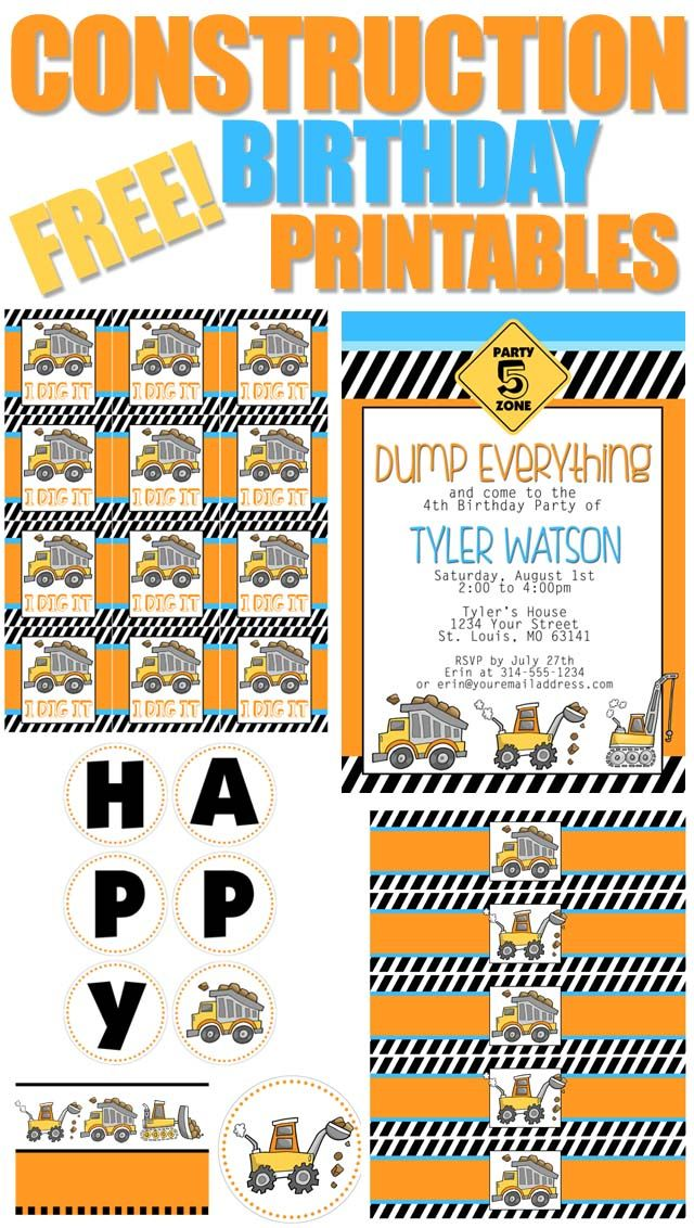 I know everyone is gearing up for the upcoming holidays, but we can't let the kiddo's birthday party slip through the cracks…. so I'm here to help. For this construction themed birthday party I created an invitation, some food table cards, a birthday banner, water bottle labels, and cupcake/favor bag tags. Let's get this party …