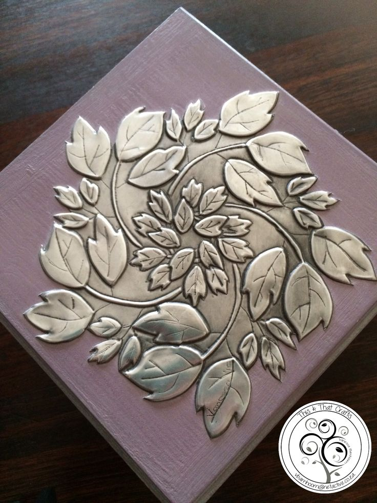 Pewter Leaves on wooden box