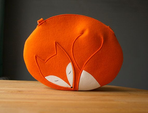 Fox Purse Orange Felt Sleeping Fox Bag by krukrustudio on Etsy