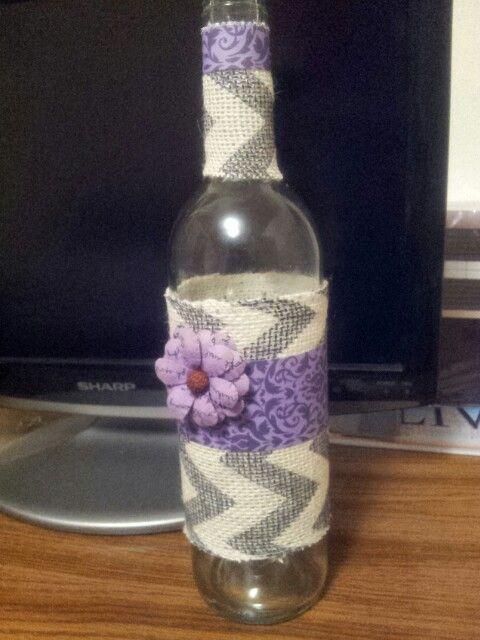 Old wine bottle printed burlap flower vase i can hear for Wine bottle flower vase