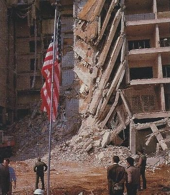 US-Embassy in Beirut after 1983 suicide bombing