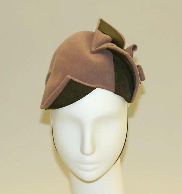 Caroline Reboux Hat, 1930s French, wool and silk