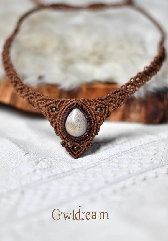 Fossil coral amonite tribal macrame handmade necklace