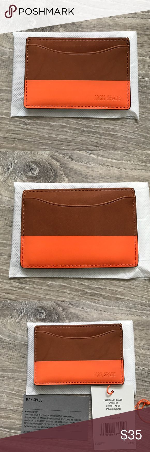Jack Spade Credit Card Holder Jack Spade Credit Card Holder. Tabacco/Orange dipped leather. *New with tags*. Jack Spade Bags Wallets